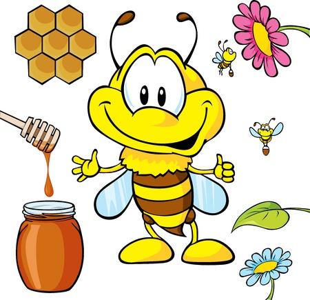 funny bee cartoon with honey