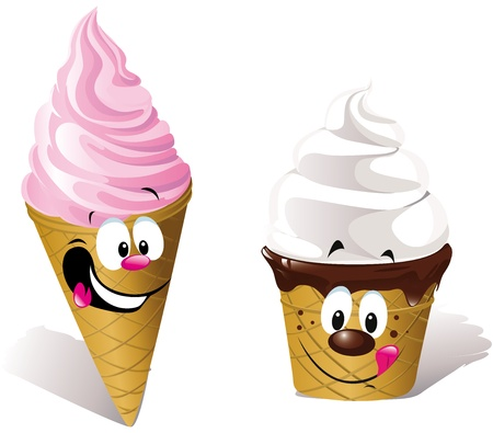 Stock Vector Illustration  two happy Ice creams
