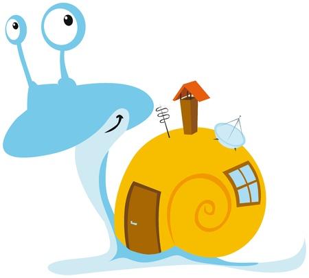Illustration pour snail with mobil home - image libre de droit