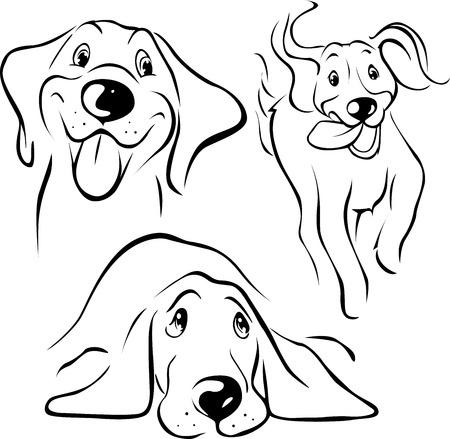 Illustration pour dog illustration - black line on white background - image libre de droit