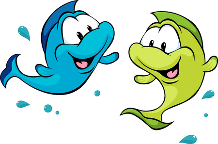 Illustrazione per two funny fish isolated on white background - vector illustration - Immagini Royalty Free