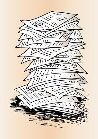 Illustration pour Sketch of Stack of work papers - image libre de droit