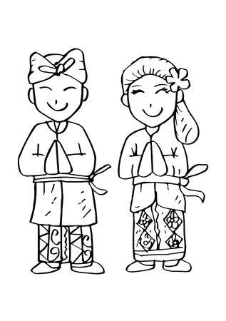 Illustration for Cartoon costume, Bali Indonesian traditional clothes. - Royalty Free Image