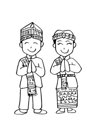 Illustration for Cartoon costume. Batak, north sumatera Indonesian traditional clothes. - Royalty Free Image