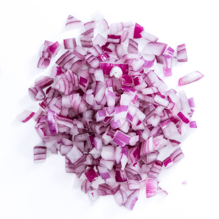 Photo for Portion of diced Red Onion (detailed close-up shot) isolated on white background - Royalty Free Image