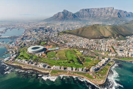 Photo for Cape Town, South Africa (aerial view) shot from a helicopter - Royalty Free Image