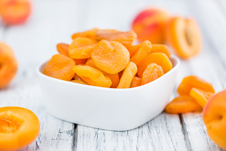Photo for Dried Apricots on a vintage background as detailed close-up shot (selective focus) - Royalty Free Image