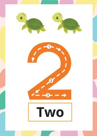 Ilustración de Number Tracing Worksheet number 2 with turtle. - Imagen libre de derechos