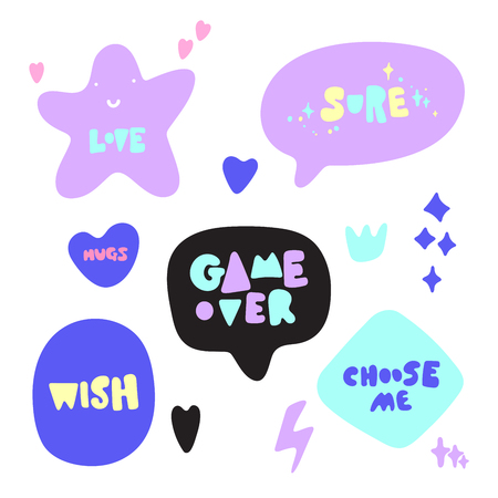 Illustrazione per Hand drawn vector illustration of a funny stickers and phrases. Isolated objects on white background. Teen spirit, children print. - Immagini Royalty Free