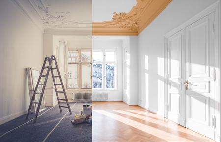 Photo pour renovation concept - room before and after renovation - image libre de droit