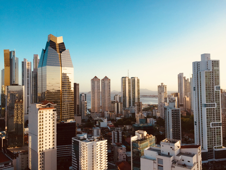 Photo pour panama city skyline - modern city skyline - skyscraper building panorama - - image libre de droit