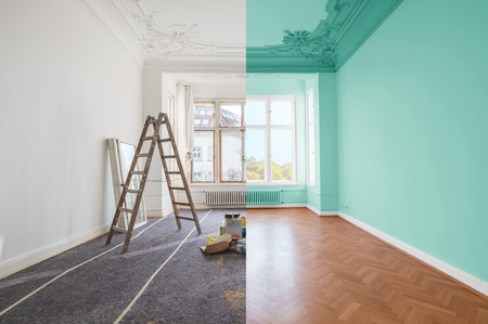 Photo for Renovation concept - room before and after renovation - Royalty Free Image