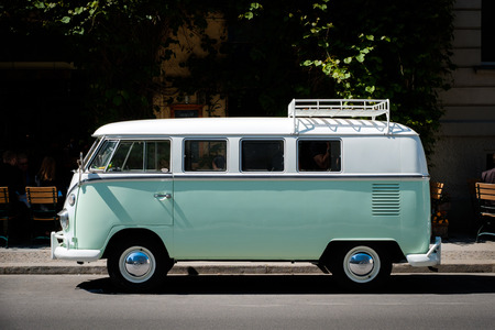 Photo for A vintage VW T1 BULLI, vintage car from Volkswagen on street in Berlin, Germany. - Royalty Free Image