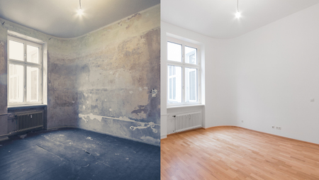 Photo for renovation  before and after  - empty apartment room, new and old, - Royalty Free Image