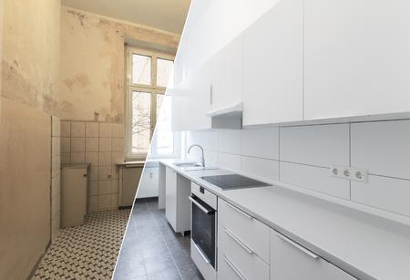 Photo pour new kitchen before and after renovation - white kitchen - image libre de droit