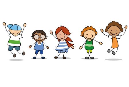 Ilustración de happy kids playing  - children  illustration , boys and girls - Imagen libre de derechos
