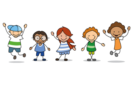 Illustration pour happy kids playing  - children  illustration , boys and girls - image libre de droit