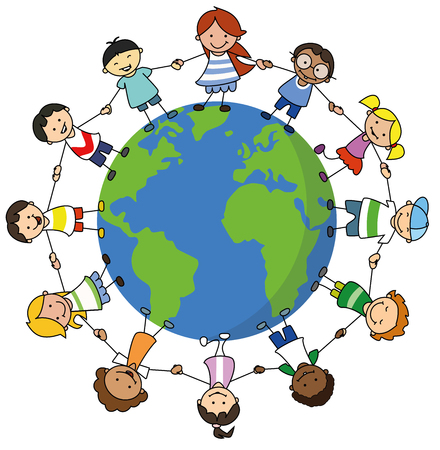 Illustrazione per happy kids holding hands on world illustration , children around the world - Immagini Royalty Free