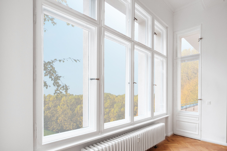 Photo for big wooden windows in apartment room of old building - Royalty Free Image