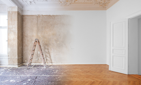 Photo for room  before and after renovation or  refurbishment - Royalty Free Image