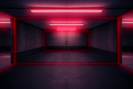 Photo pour parking lot with neon light, dark underground garage - image libre de droit
