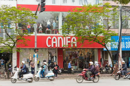 Hanoi, Vietnam - Mar 15, 2015: Exterior view of small fashion shop on Chua Boc street. There are  a lot of designer clothes, imitation brands quality, medium quality clothing and Vietnamese brands