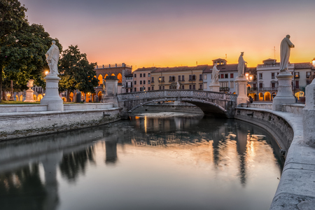 Photo for The Prato della Valle square with magnificent statues in Padova, Italy, during sunset - Royalty Free Image