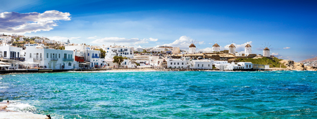Photo for Panoramic view to the famous windmills of Mykonos, Cyclades, Greece - Royalty Free Image