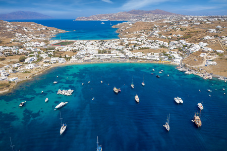 Photo for Aerial view of the popular Ornos beach on the island of Mykonos, Cyclades, Greece - Royalty Free Image