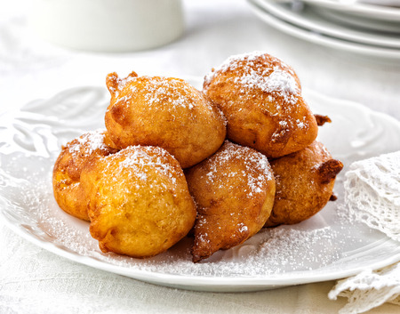 Photo for Fried dough balls. Typical New Years Eve treat in the Netherlands. - Royalty Free Image