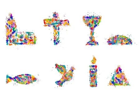 Photo for Christian symbols from splashes of color, dab - Symbol Set - Royalty Free Image
