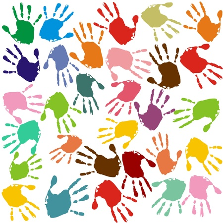 Hand prints in different colors