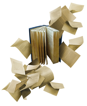 Photo pour Open book with scattered flying pages - image libre de droit