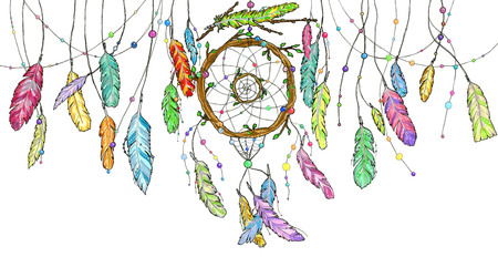 Foto de Hand drawn watercolor dream catcher from tree branches decorated with beads and with bright colorful feathers swinging in the wind. Sketch illustration for print or tattoo - Imagen libre de derechos