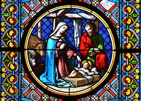 Foto de Nativity Scene. Stained glass window - Imagen libre de derechos