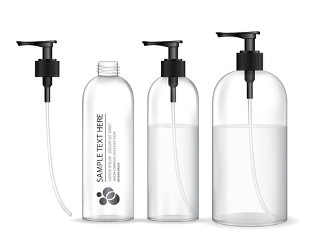 Ilustración de Cosmetic plastic bottle with black dispenser pump (transparent). Liquid container for gel, lotion, cream, shampoo, bath foam. Beauty product package, vector illustration. - Imagen libre de derechos