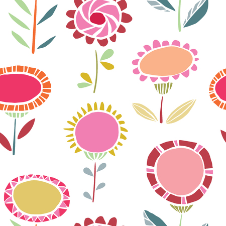 Illustration pour Vector vibrant folk floral seamless pattern background. Ideal for fabrics, textiles, scrapbooking, wallapers and crafts. - image libre de droit