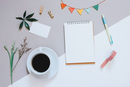 Photo for Creative flat lay photo of cute workspace desk with notebook, coffee, name card and decorated cute craft with copy space background, minimal style - Royalty Free Image