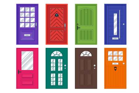 Illustrazione per Set of detailed front doors for private house or building. Interior / exterior home entrance decoration elements. Isolated modern architecture element. Wooden doorway construction. illustration - Immagini Royalty Free