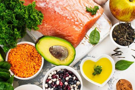 Foto de Low cholesterol food. Healthy heart nutrition. Space for text - Imagen libre de derechos