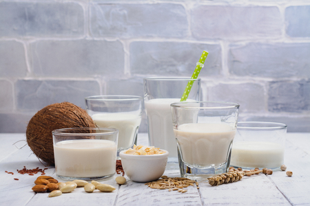 Photo for Assortment of non dairy vegan milk and ingredients - Royalty Free Image