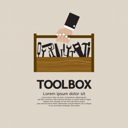 Illustration pour Hand Holding A Mechanic Toolbox  - image libre de droit