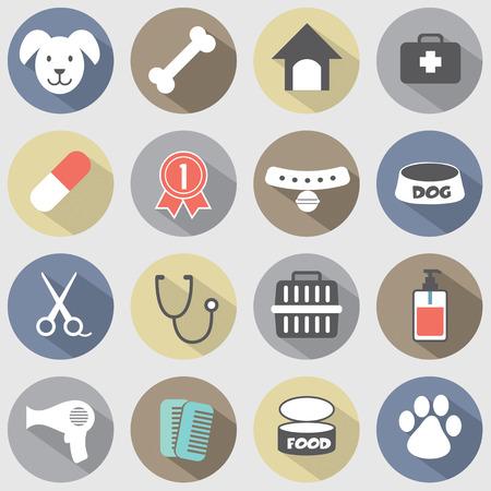Illustration pour Modern Flat Design Dog Icons Set - image libre de droit