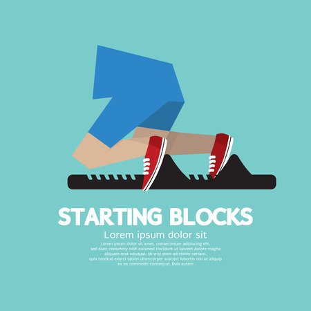 Foto de Running Starting Blocks Vector Illustration  - Imagen libre de derechos