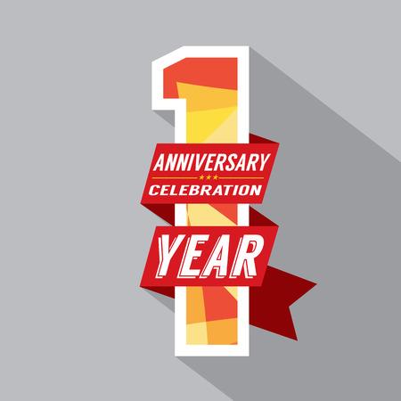 Illustration pour First Year Anniversary Celebration Design - image libre de droit
