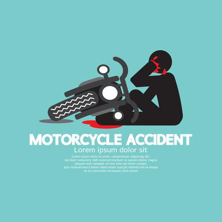 Illustration pour Biker With Motorcycle Have In An Accident Vector Illustration - image libre de droit
