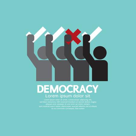 Illustration pour People Showing Vote Yes And No Democracy Concept Vector Illustration - image libre de droit