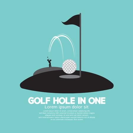 Ilustración de Golf Hole in One Sport Symbol Vector Illustration - Imagen libre de derechos