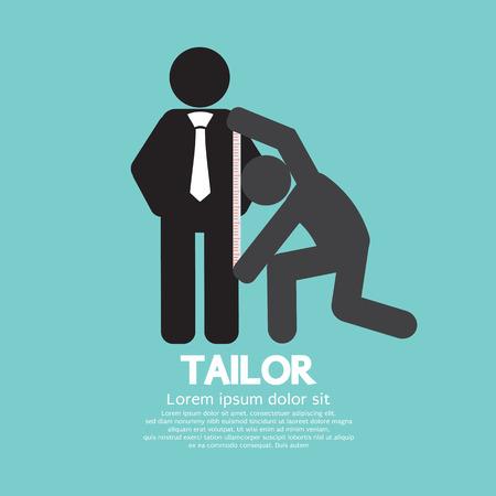 Illustrazione per Customer Getting Measure By Tailor Symbol Illustration - Immagini Royalty Free