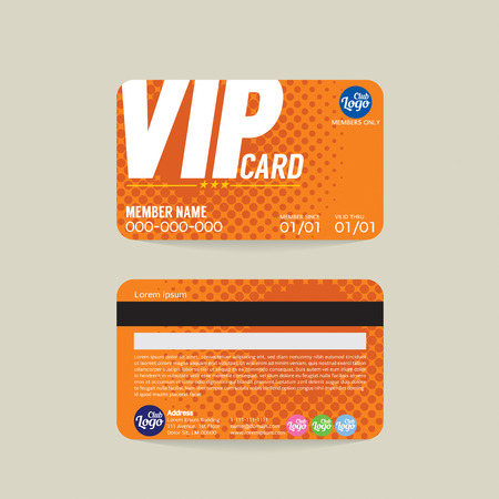 Illustration pour Front And Back VIP Member Card Template Vector Illustration - image libre de droit